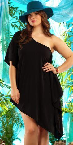 Becca Full Figure Animal Instincts Solid Black One Shoulder Dress 3693027