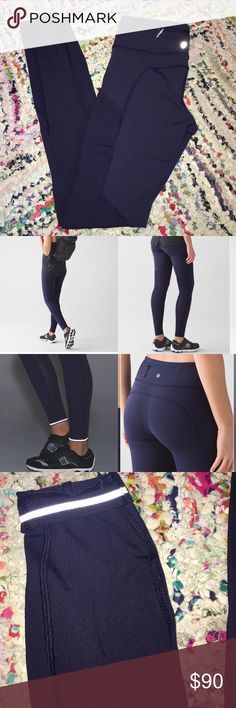 LULULEMON SPEED TIGHT V Color is deep indigo. Worn once, perfect condition, zero flaws. Price firm or keeping. lululemon athletica Pants