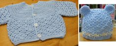 Crochet Baby Boy Cardigan and Hat Set