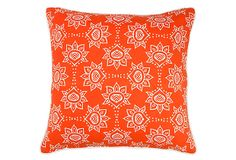 Lotus Link 20x20 Cotton Pillow, Orange on OneKingsLane.com In a bold, orange hue, this pillow features traditional lotus motifs with modern flair. Made from soft cotton, this global-chic pillow was screen-printed by hand at a family-owned mill in Jaipur, India. Reverse is a solid color.