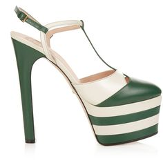 Gucci Angel leather striped platform sandals ($990) ❤ liked on Polyvore featuring shoes, sandals, gucci, leather t strap sandals, white shoes, gucci shoes, white sandals and green shoes