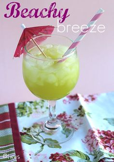 Beachy Breeze (1 oz Midori 1 oz Malibu Rum 3 oz pineapple juice)