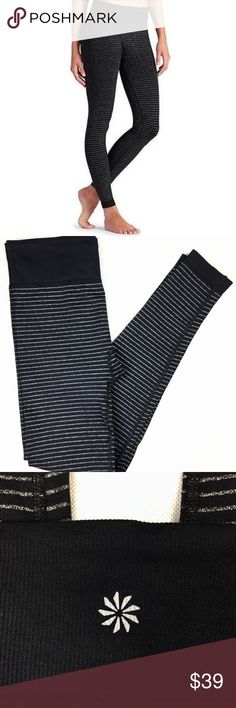 Athleta Leggings Black Silver Striped Size Small Super cute and stretchy leggings, in amazing condition, barley worn.  Waist:26 Front Rise: 10.5 Inseam: 26 Athleta Pants Leggings