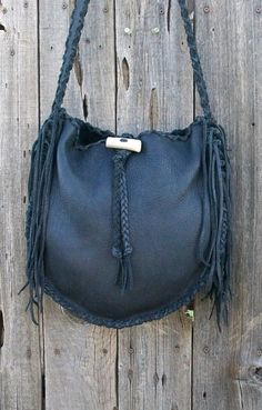 Black leather tote   Handmade tote  Leather tote by thunderrose,