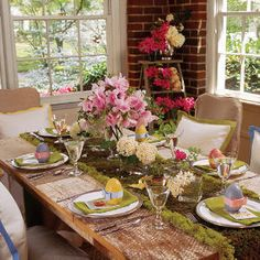 Celebrate Easter by setting a pretty table that echoes all that you love about spring. With shades of pink, lavender, green, and white, your garden and flower pots resound with color, so why not your table? Gather fresh blooms, vibrant moss, glass vases, and colorful wooden eggs. Soon your table will grow into a fresh and cheerful display.