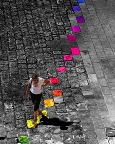 rainbow of selective color splash,,, Splash Photography, Color Photography, Black And White Photography, Color Splash, Color Pop, Color Lines, Street Art Graffiti, Black White Photos, Color Of Life