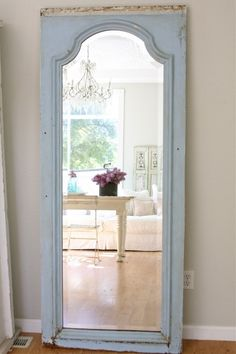 """#colorpalate #mirror  Love the shade of blue. Love the wide bevel on the mirror. I'd age the mirror from the back of the glass. Wish we had a couple of these """"statement mirrors"""".  :)"""