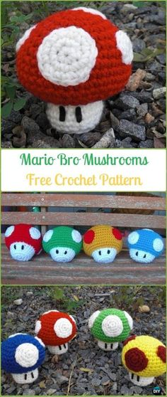 Crochet Mario Brothers Mushrooms Amigurumi Free Pattern - Amigurumi Crochet Mushroom Softies Free Patterns