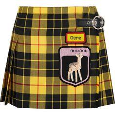 Miu Miu Appliquéd tartan wool mini skirt found on Polyvore featuring polyvore, women's fashion, clothing, skirts, mini skirts, bottoms, miu miu, pleated mini skirt, pleated skirt and wool mini skirt