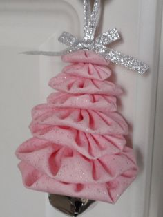 Sweet Pink Baby Girl Sparkly Christmas Tree Jingle Bell Yo Yo Ornament with silver bow