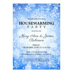 Elegant Housewarming Party Blue Winter Bokeh Card
