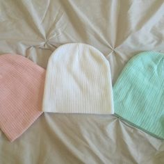 Pastel-Colored Beanie Bundle Never worn. Set of 3, 100% acrylic beanies! These are sure to give any outfit a cute pop of color. Accessories Hats