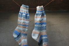 Mens blue striped socks gift idea for him. $39.50, via Etsy.