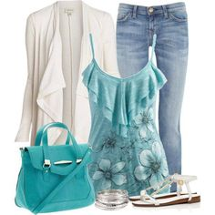 Tops and cardigans cut like this are very figure flattering. And I really like that light teal color. :) #big #girl #fashion #outfit #set