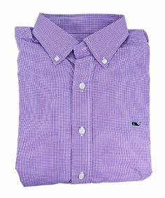 Vineyard Vines Mens Whale Grape Antigua Gingham Cotton Button Down Shirt