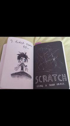 Scratch using a sharp object.           #wreckthisjournal #wtj #kerismith