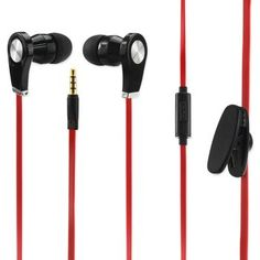 Reiko Earphone 3.5Mm With Mic And In Ear Rubber Caps Red