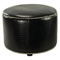 Faux croc ottoman with nailhead trim a beech wood frame.   Product: Ottoman   Color: Black  Construction...