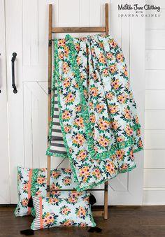 Matilda Jane with Joanna Gaines: Flower Bed Comforter, Hanging Garden Pillowcase and Fencepost Throw Pillowcase