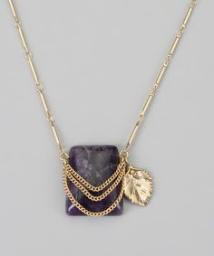 Take a look at this Purple & Gold Leaf Pendant Necklace by La Radiant on #zulily today!
