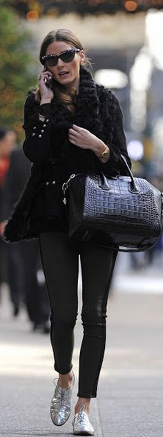Who made  Olivia Palermo's silver lace up shoes, black handbag, and green stripe jeans that she wore in New York?