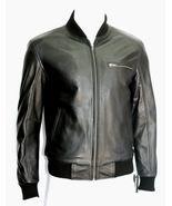 Men's handmade Classic Stylish Rock Bomber Black Leather Jacket - $159.99+