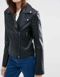 ASOS | ASOS Ultimate Leather Look Biker Jacket with Piped Detail