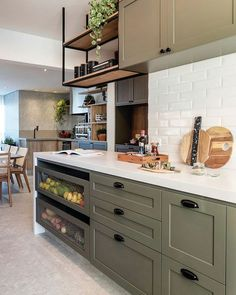 Kitchen in green bamboo! Interior Exterior, Kitchen Interior, Kitchen Decor, Interior Design, Warm Kitchen, Cute Kitchen, Boutique Interior, Scandinavian Home, Inspired Homes