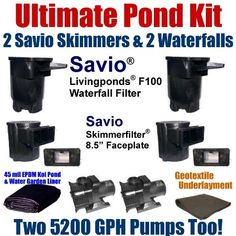 """35 x 40 Ultimate Koi Pond Kit With (2) 5,200 GPH Pumps (2) Savio Regular Skimmers & (2) 8.5"""" Faceplates, (2) Savio Living Ponds Waterfalls US1 by Patriot. $3207.50. Liftgate Service is Not Included. Contact Carrier For Liftgate Service Which Is An Additional $85.00. 2"""" x 100' FreezeFlex PVC Hose, (3) 20 Watt Rock Lights with 60 Watt Transformer, All Installation Hardware & Directions. 35 x 40 EPDM LifeGuard Liner (lifetime warranty) and 1,400 Square Feet of Underlayment, (2) Sa..."""