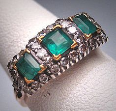 Rare Antique Victorian Emerald Diamond Wedding Ring Band Vintage 1800.  Antique vintage, engagement ring, anniversary band, fine jewelry, filigree ring, antique diamonds, bridal set, gift idea.  Purchase Now at Aawsomblei Antique Jewelry