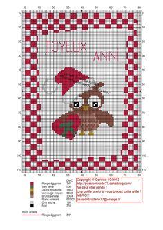 noël - christmas - chouette - point de croix - cross stitch - Blog : http://broderiemimie44.canalblog.com/