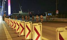 Putschists set perimeter at the center of the famous Bosphorus Bridge.