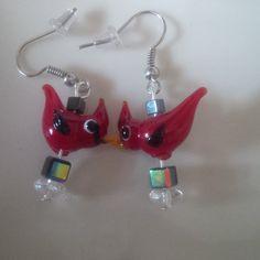 Cardinal Earrings by FarringtonBead on Etsy