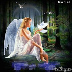 ANGEL*MARIELCB Beautiful Angels Pictures, Beautiful Gif, Angel Images, Angel Pictures, Merry Christmas Pictures, Angel Artwork, Angel Drawing, I Believe In Angels, Peace Art