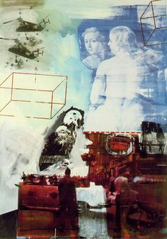 Robert Rauschenberg, Tracer, 1964. US artist, image saturation in society, just as relevant today. Mixed media collage including screenprint using images from mass media and found elements and oil paint