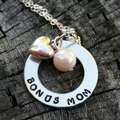 bonus mom handstamped necklace step mom blended family heart charm with pearl gift for her bonus mom gift mothers day christmas by TiffysLove on Etsy
