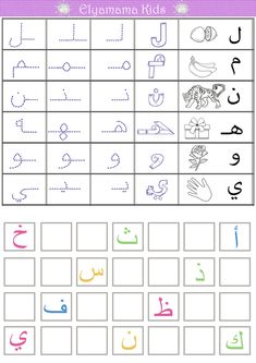 Arabic Alphabet Chart, Arabic Alphabet Letters, Arabic Alphabet For Kids, Writing Practice Worksheets, Alphabet Tracing Worksheets, Arabic Handwriting, Three Letter Words, Learn Arabic Online, Arabic Lessons