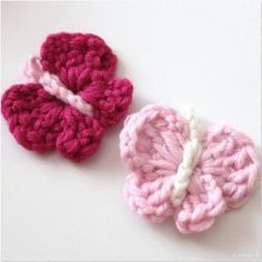 Frühlingsmodus: Schmetterlinge häkeln - modage Pictorial tutorial that would be cute for little girls' hair accessories.