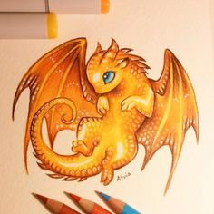 Mom dragon's little treasure #dragon #fantasy #drawing #art