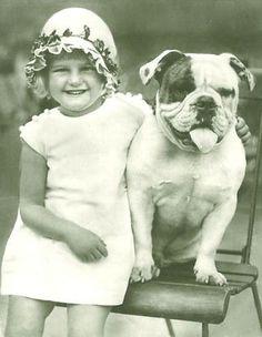 Happy Girl with her Bulldog