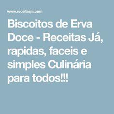 Biscoitos de Erva Doce - Receitas Já, rapidas, faceis e simples Culinária para todos!!! Food Inspiration, Muffin, Good Food, Low Carb, Blog, Recipes, Ceviche, Sea Food, Chocolates