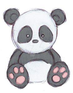 Doodle Drawings, Art Drawings Sketches, Cartoon Drawings, Doodle Art, Easy Drawings, Cute Panda Drawing, Bear Drawing, Cute Animal Drawings, Drawing Animals