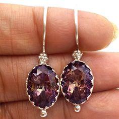 925 Sterling Silver Jewelry Oval Shape Mystic Topaz Handmade Dangle Earrings #Handmade #Earring #valentinesday