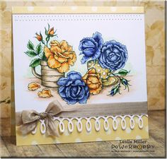 Everything's Rosy digital stamp by Power Poppy. Card by Leslie Miller.