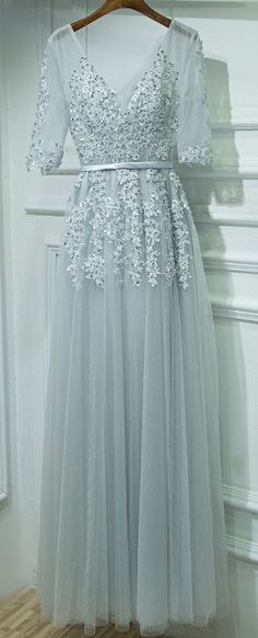 V-Neck Long Prom Dress with Middle Sleeves, Formal Dress For Teens pst1614