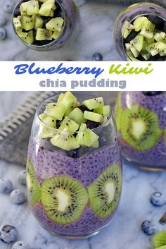 Blueberry Kiwi Chia Pudding - a delicious and healthy dessert, breakfast or snack! Gluten free. Nutrition info included.