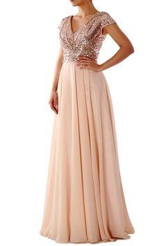 Cap Sleeves V Neck Sequin Chiffon Rose Gold Bridesmaid Dress