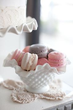 French macaroons and milk glass....... I need all of this right about now.