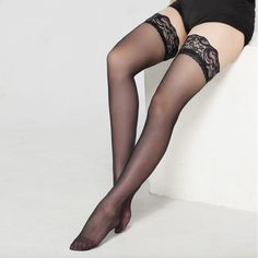 f91afb83a6c Women Ultrathin Lace Top Thigh High Silk Stockings Fashion Sexy Lady  Stockings Sheer Thigh High Stockings by Coquette Colours