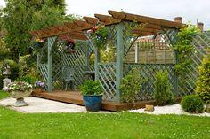 Green and brown garden pergola